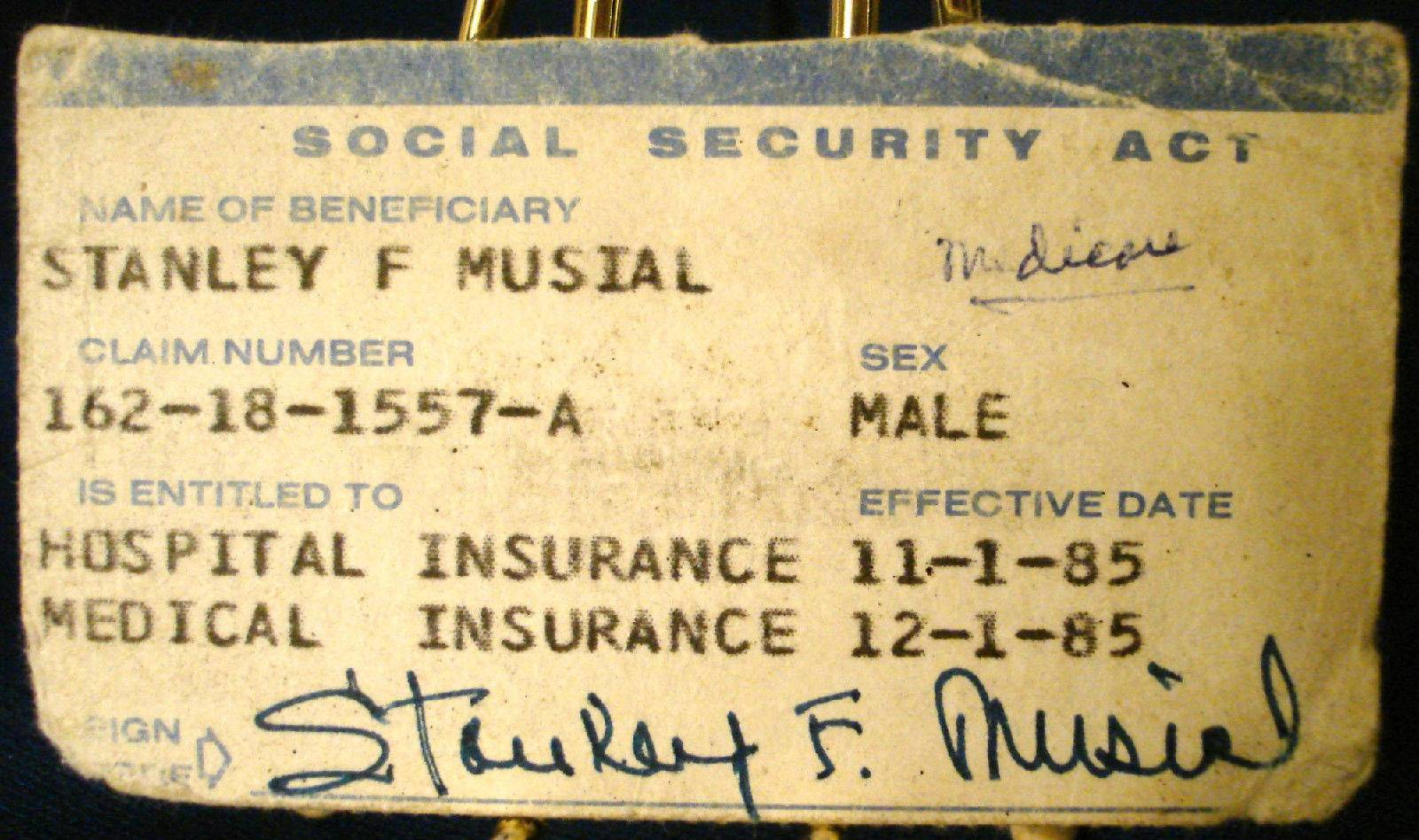 STAN MUSIAL's OWN 1985 Medicare Card FROM MUSIAL ESTATE