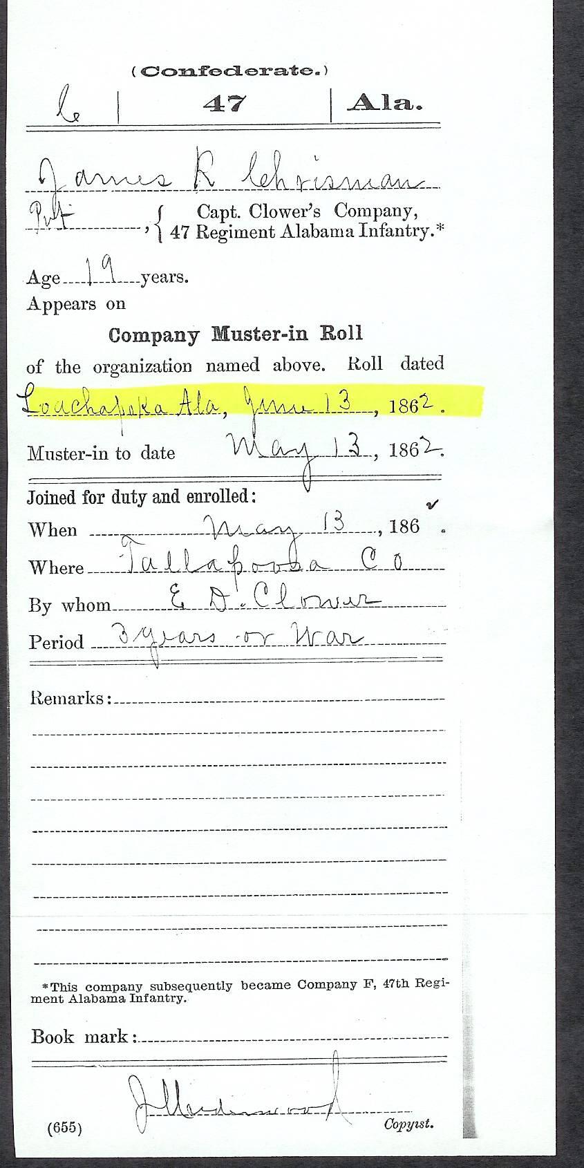 Confederate Army Document