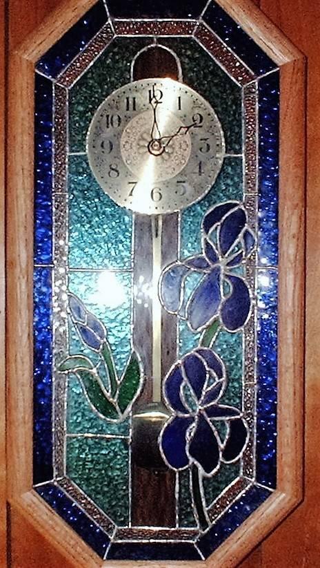 Oak framed stained glass clock