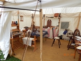 Inside a colonial tent