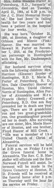 Porter, Edna Hoover 1964