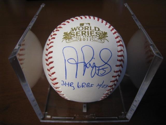 ALBERT PUJOLS SIGNED 2011 WORLD SERIES BASEBALL PUJOLS HOLOGRAM AND MLB HOLOGRAM