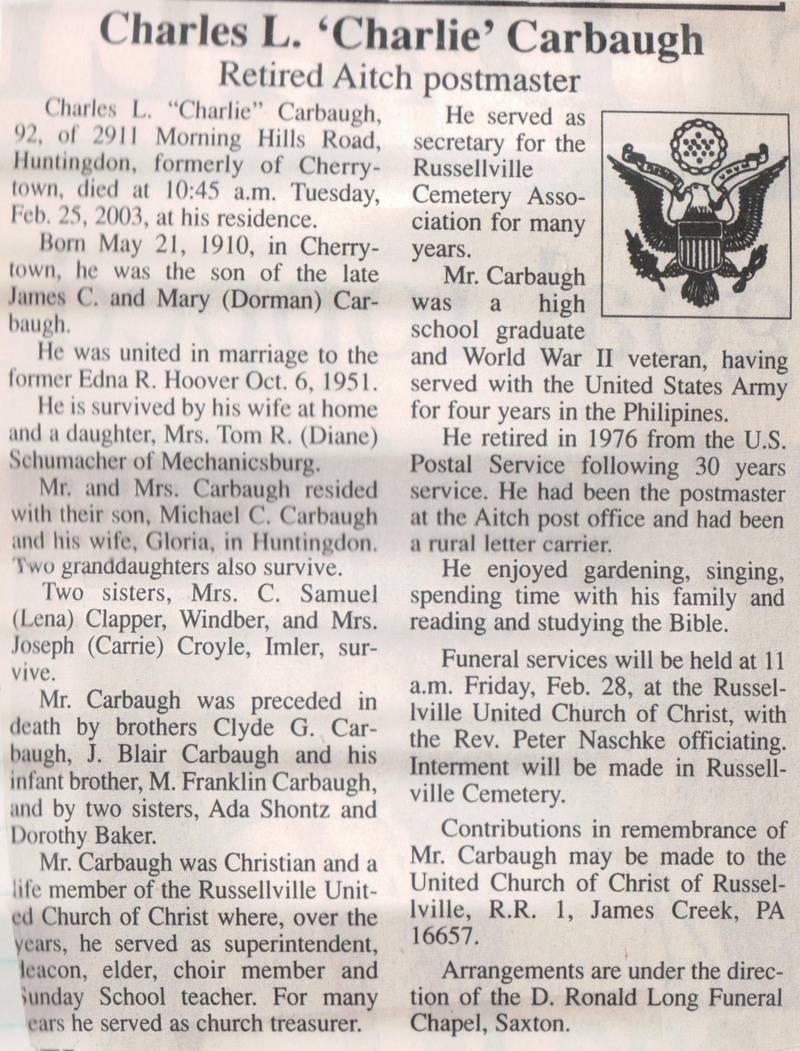 Carbaugh, Charles L. 2003