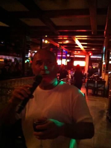 "Richie serving up ""Yo No Se Manana"" for the crowd at Joe's Place Friday Night Karaoke Fiesta!"