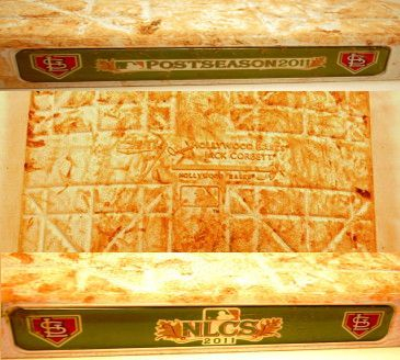 NLCS Game 5 Game-St. Louis Cardinals Versus The Milwaukee Brewers-Game Used 1st Base (10/14/11) Albert Pujols