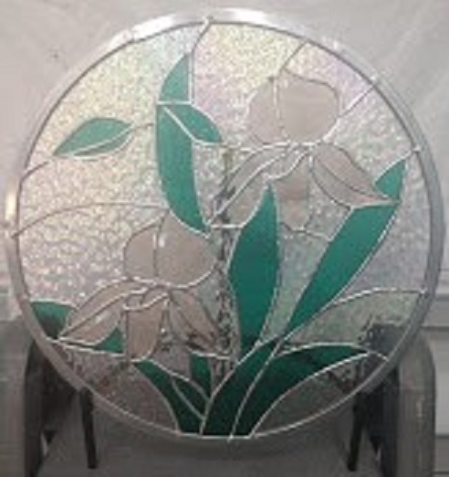 DUAL PEACH BEVEL ORCHIDS ROUND PANEL