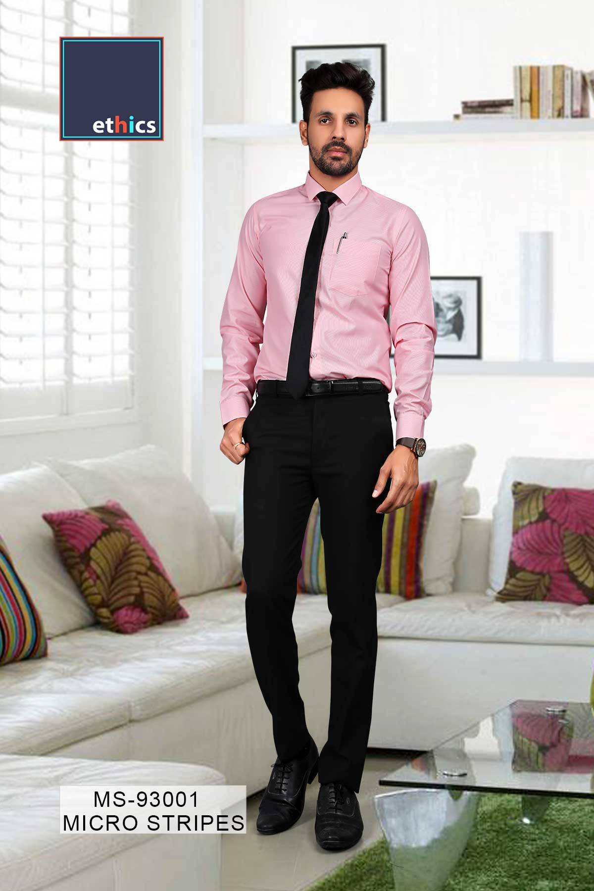 Pink Micro Stripes Mens Uniform Shirts for Corporate Office MS-93001