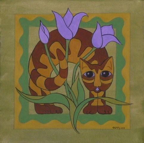 Cat in the Tulips