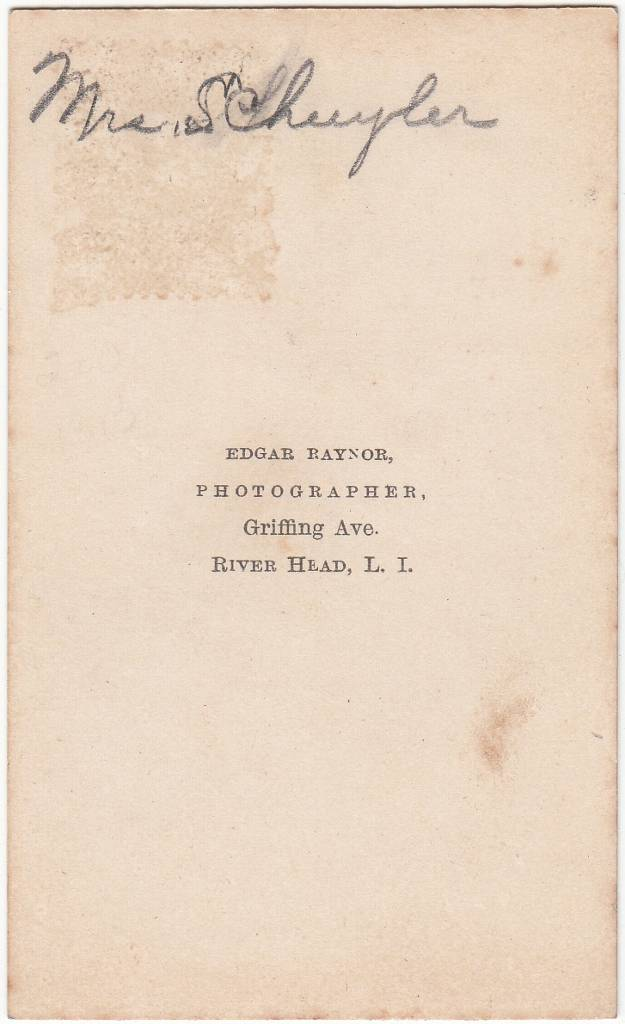 Edgar Raynor, photographer of River Head, Long Island, New York - back