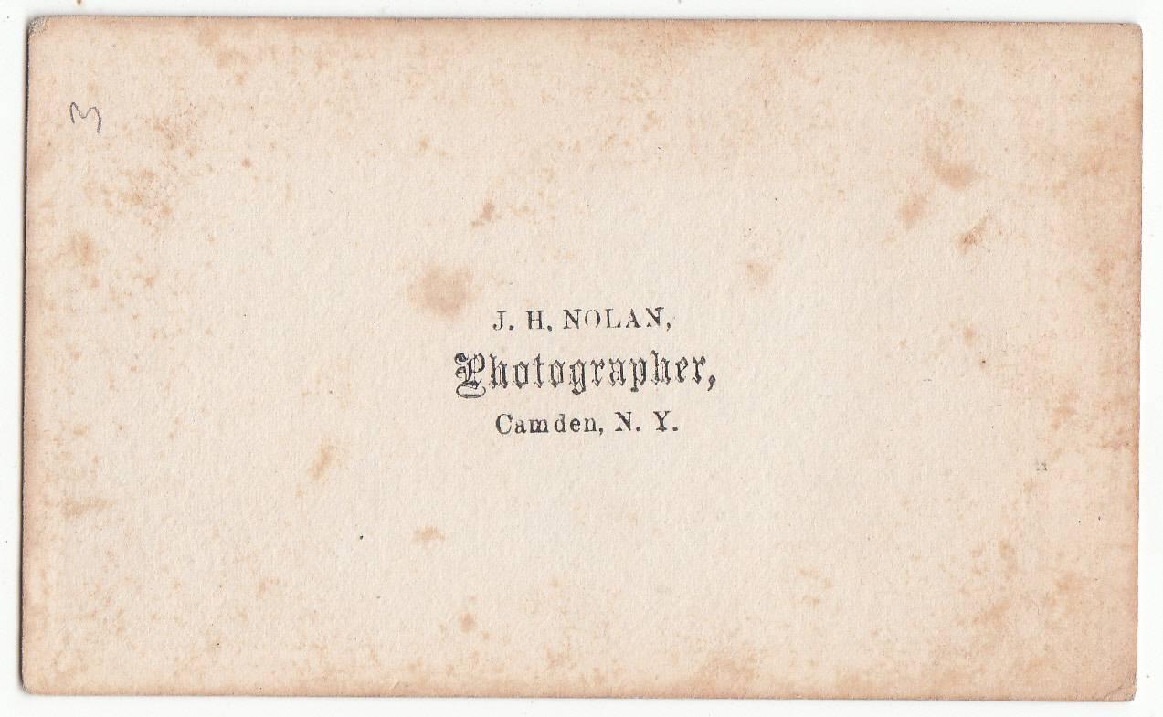 J. H. Nolan, photographer of Camden, NY - back