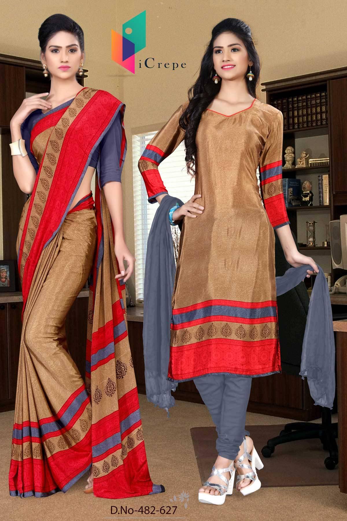 Brown and Purple Italian Crepe Silk Uniform Saree and Salwar combo-482-627