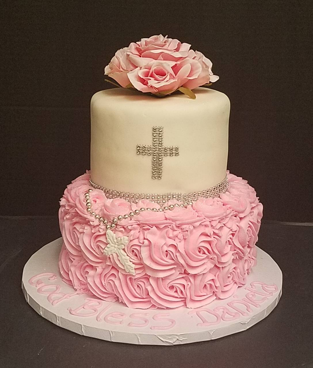 First Communion with Pink Rosettes