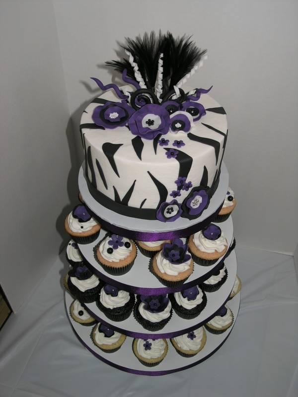Zebra/Purple Cupcake Tower
