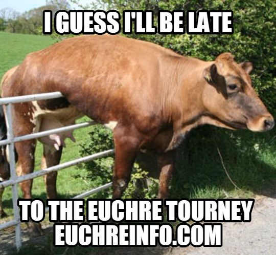 I guess I'll be late to the Euchre tourney.