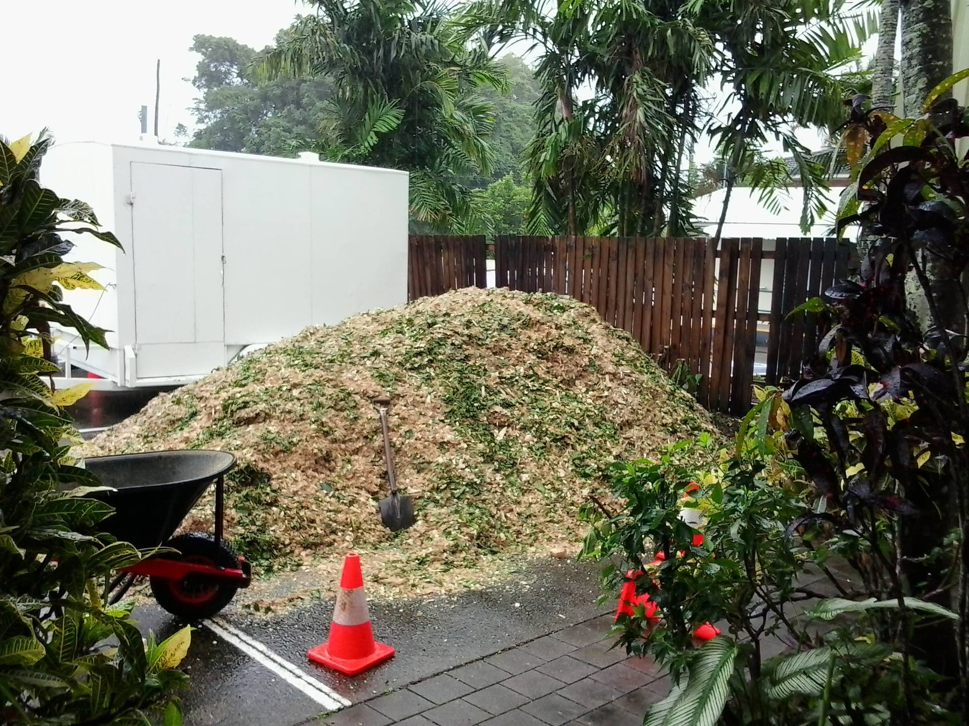 First load of mulch.