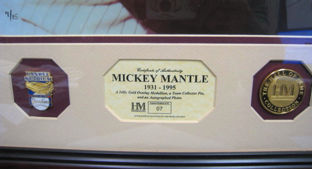 Mickey Mantle Autographed Highland Mint Numbered 7/15
