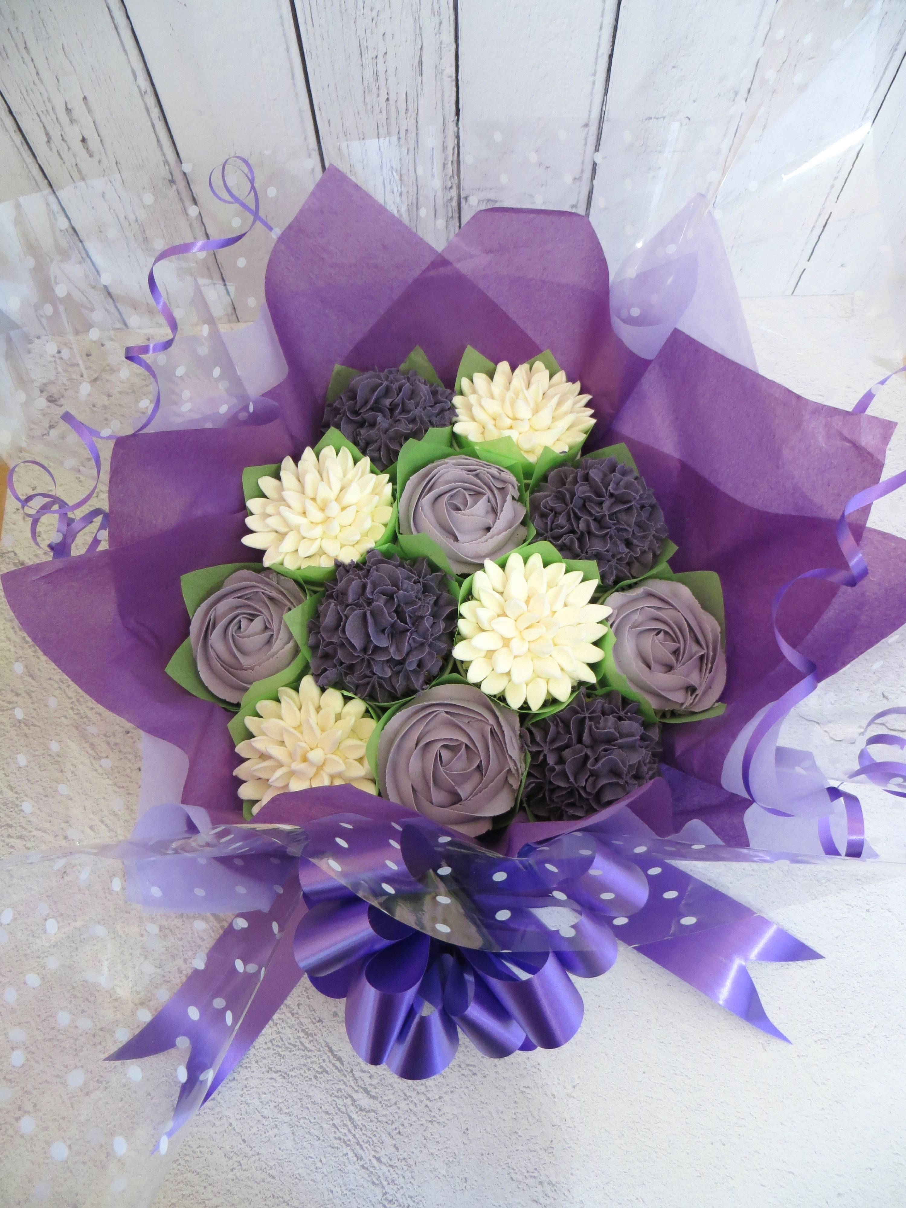 Purple and white cupcake bouquet