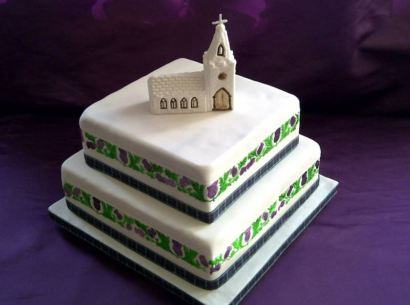 Scottish wedding cake, church, with Tartan and thistle border