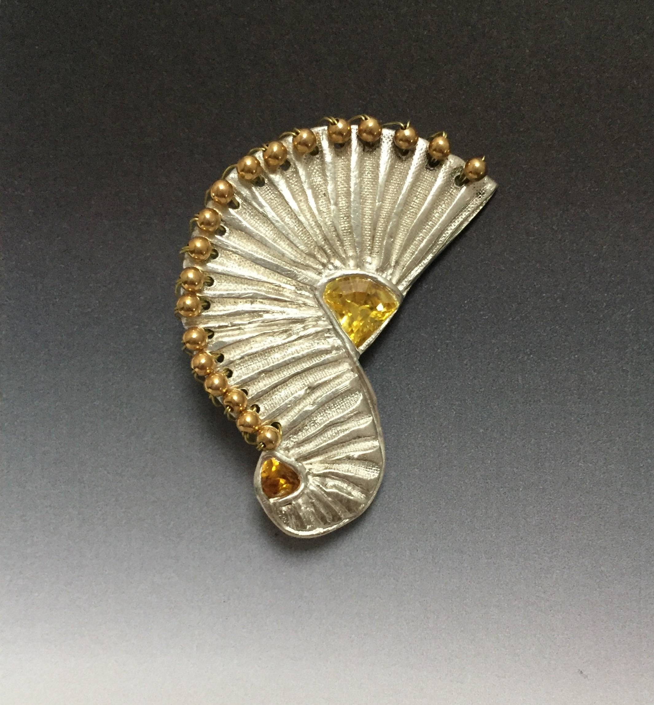 GOLD ON SILVER Brooch