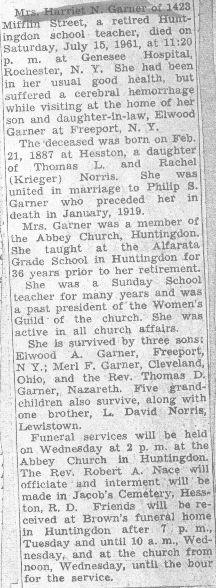 Garner, Harriet Norris 1961