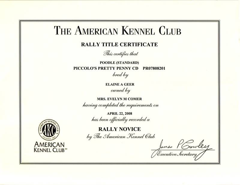 Penny RN title certificate
