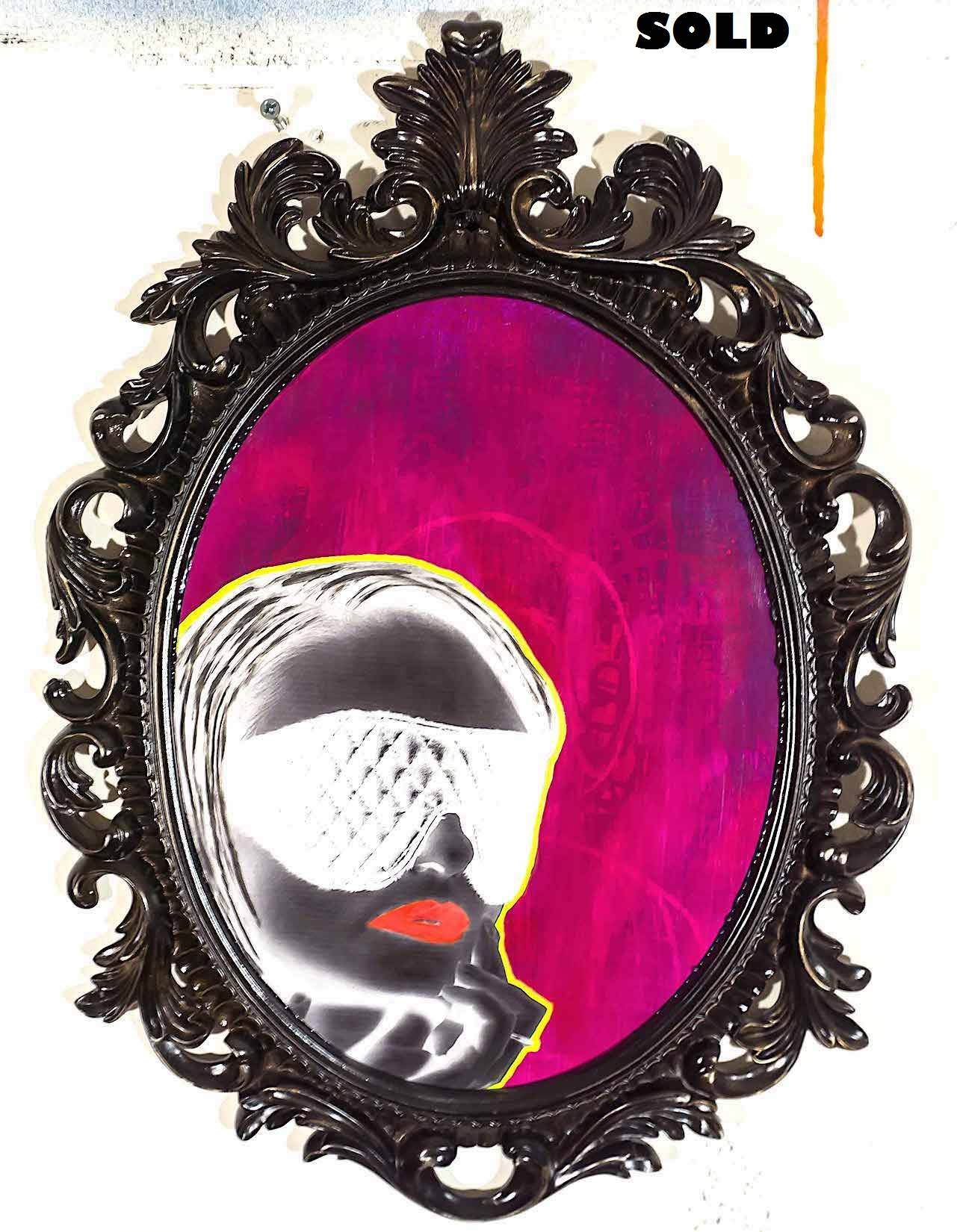 """""""No Promises"""" acrylic paint and collage on wood panel with painted plaster artist frame 18 x 13 x 2 inches, 2017, signed, titled, and dated by the artist on the reverse"""