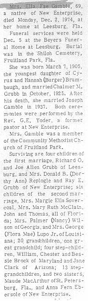 Gamble, Ella Grubb 1974