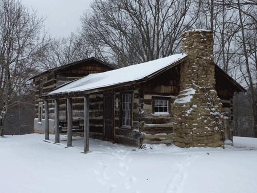 Cabin in winter, closeup