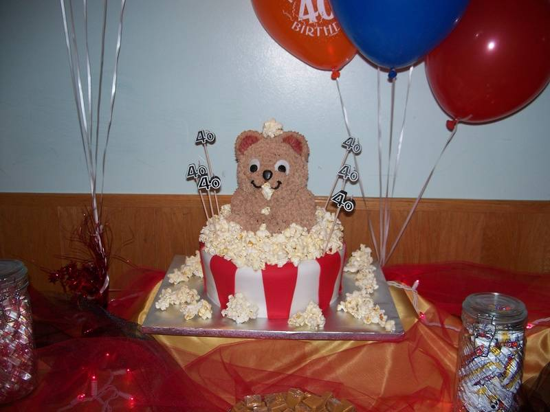 Teddy Bear in Popcorn Box Cake