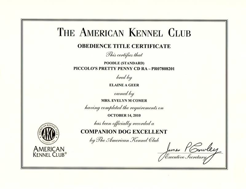Penny CDX title certificate