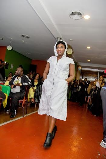 White Hood Zipper Dress