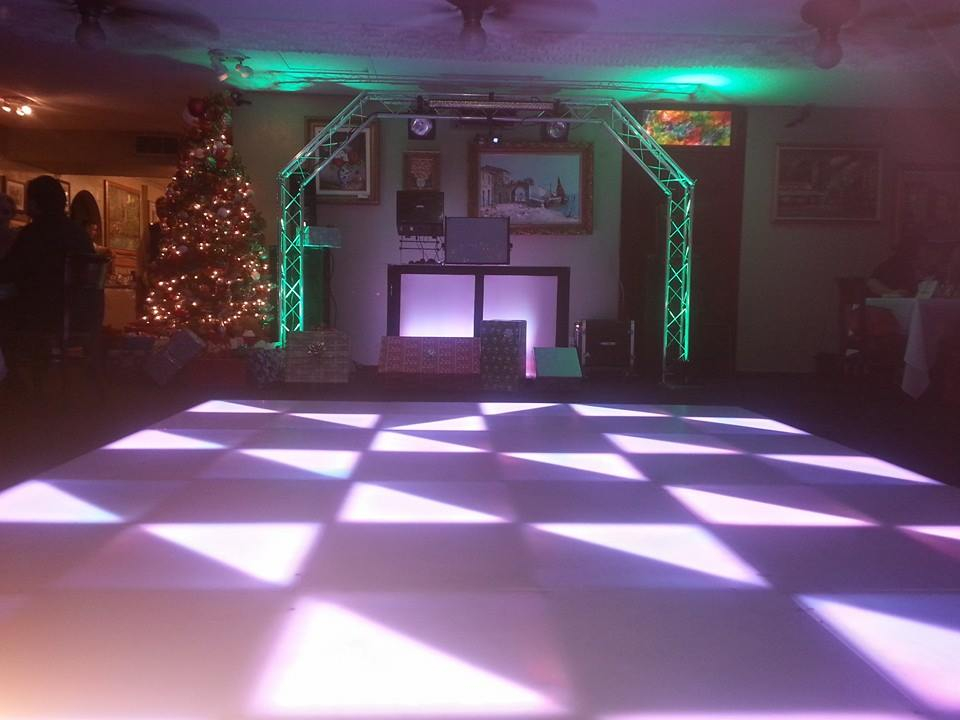 Dj set up and led dance floor