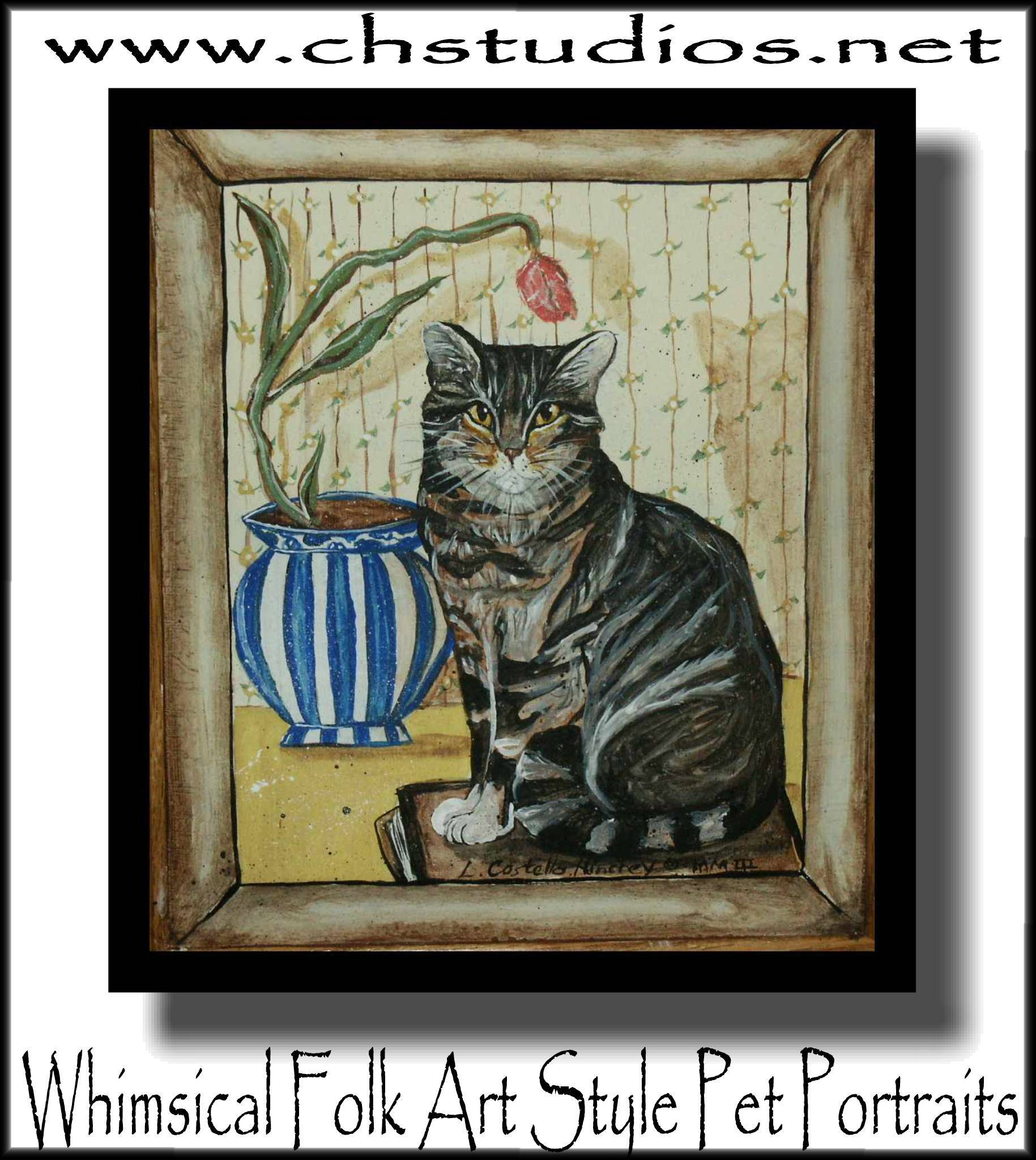 Folk Art Cat w Blue Vase Commission Portrait
