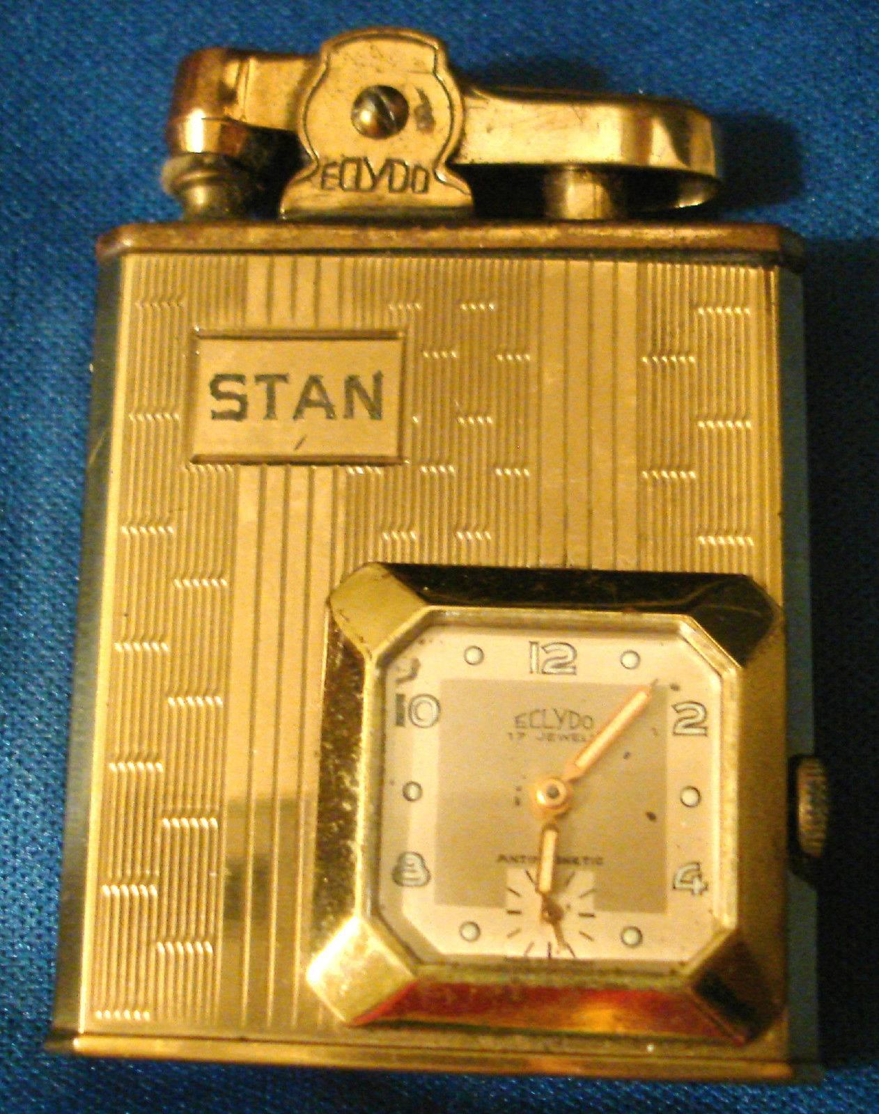 "STAN MUSIAL'S Own 1950's Eclydo ""STAN"" Lighter Clock Combo"