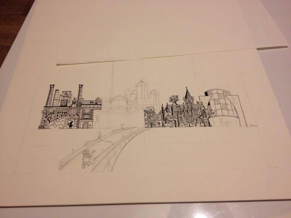 Across the Liffey in progress