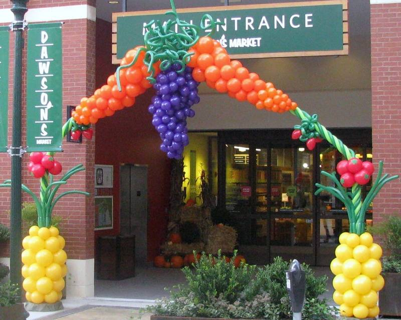 Fruit & Vegetable Arch Balloon Arch Dawson' Market Grand Opening