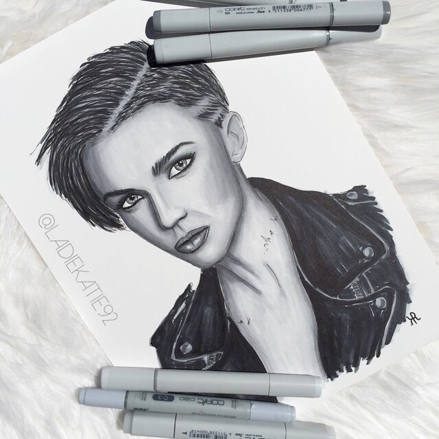 Ruby Rose Grey Scale Copic Illustration
