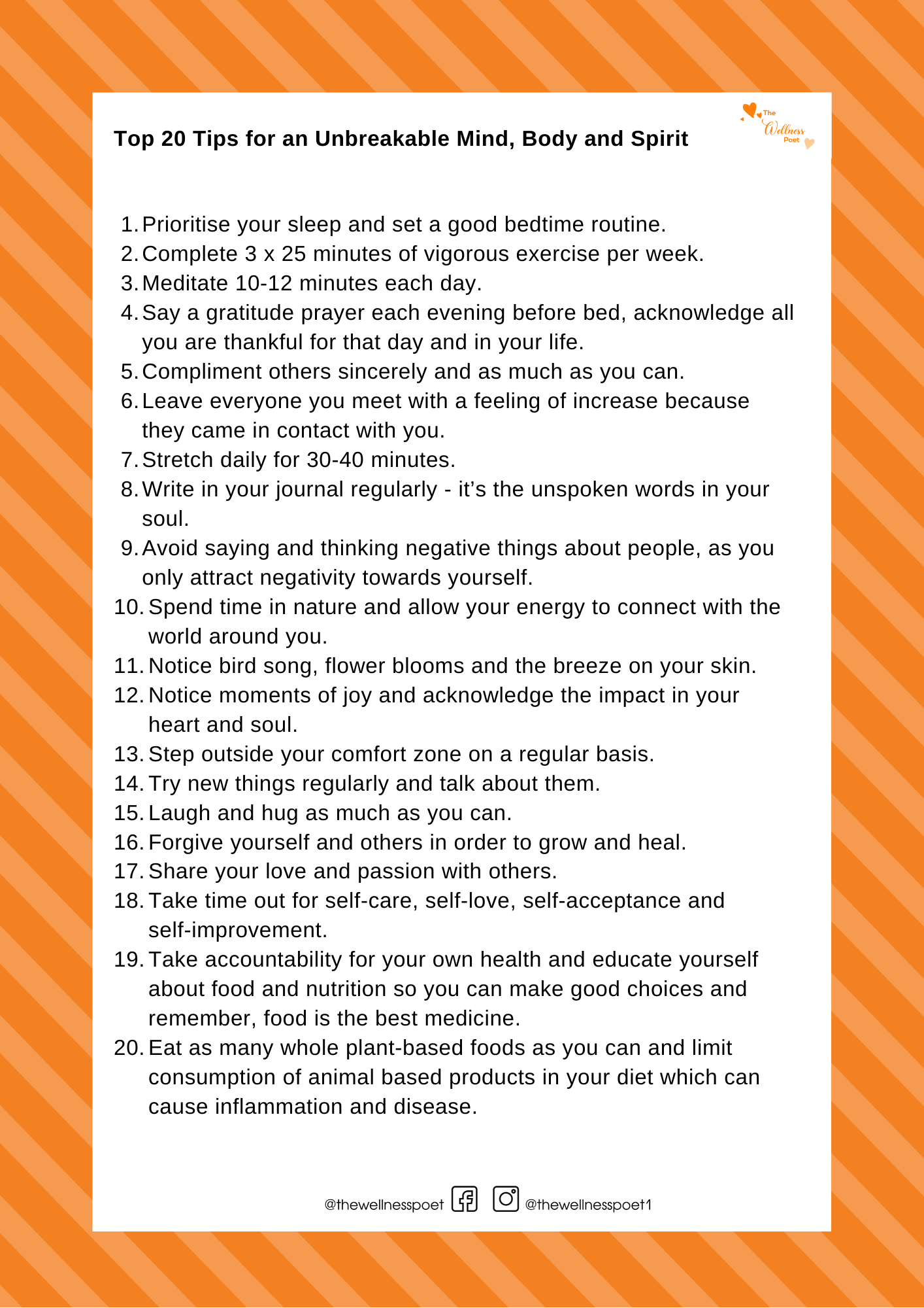 Top 20 Tips for Health and Wellbeing