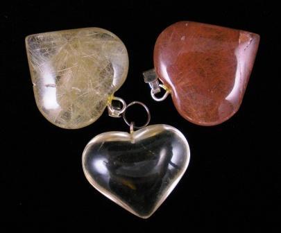 09-00347 Rutilated Quartz Heart Pendants
