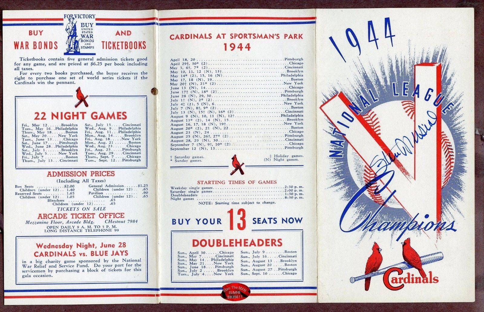 Stan Musial HOF Cardinals Signed 1944 Roster Schedule AUTO Stan the Man COA