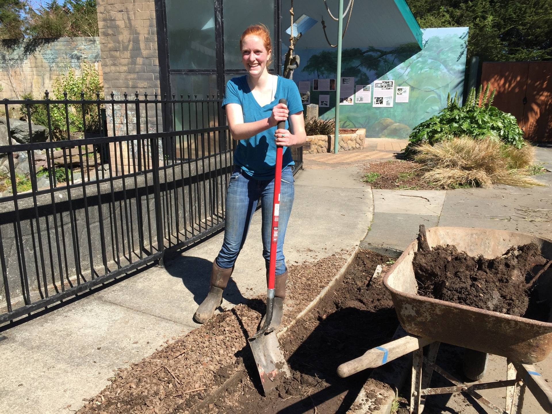 Emily preparing the soil