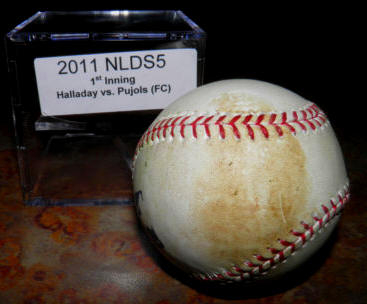 2011 NLDS Game 5 Halladay pitch to Pujols Phillies Cardinals Game Used Baseball  GU Baseball Top of 1st Pujols FC MLB Authenicated