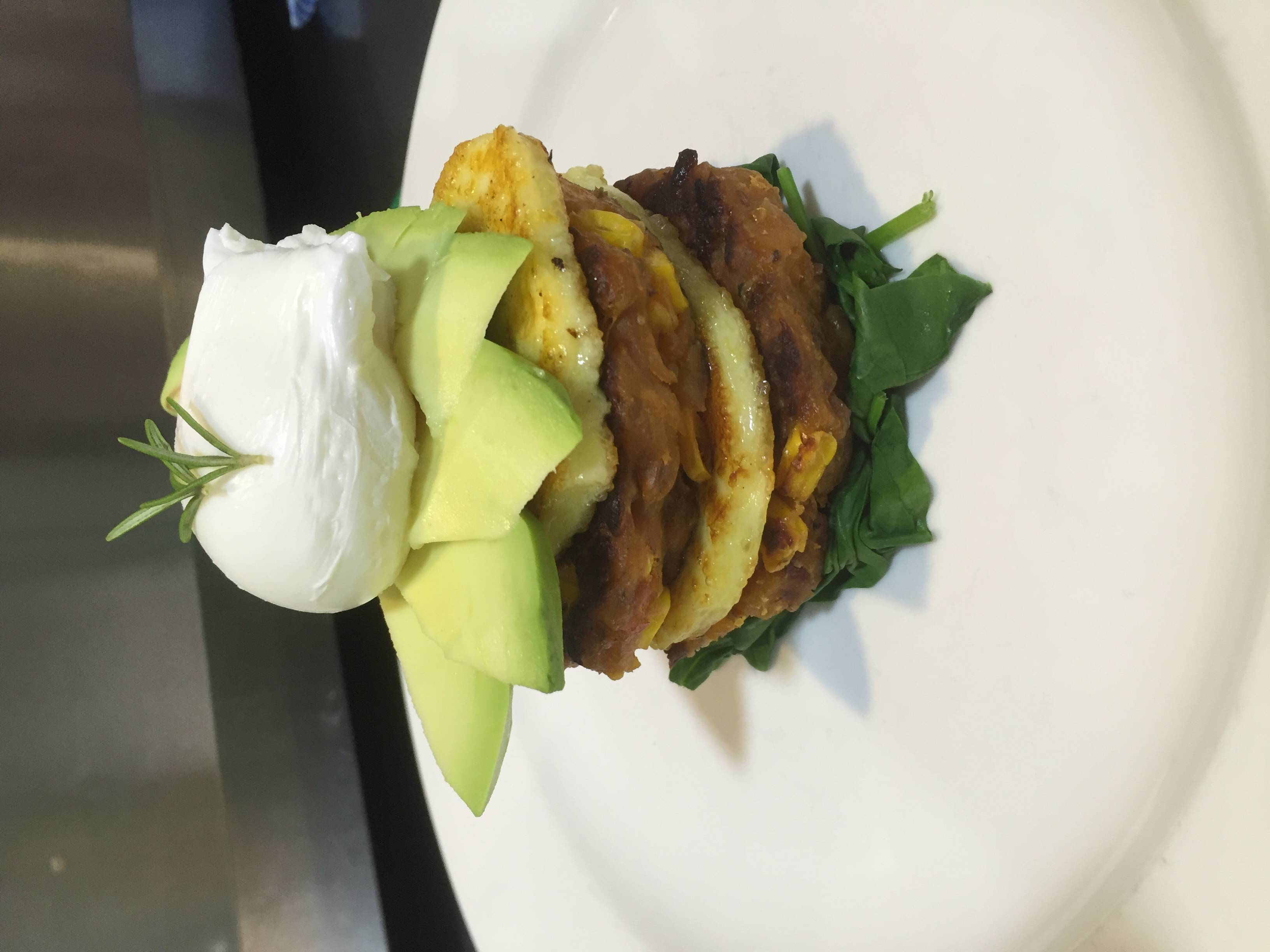 Fritters and Haloumi Avo Stack