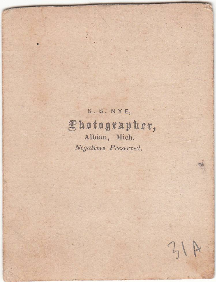 S. S. Nye, photographer of Albion, MI - back
