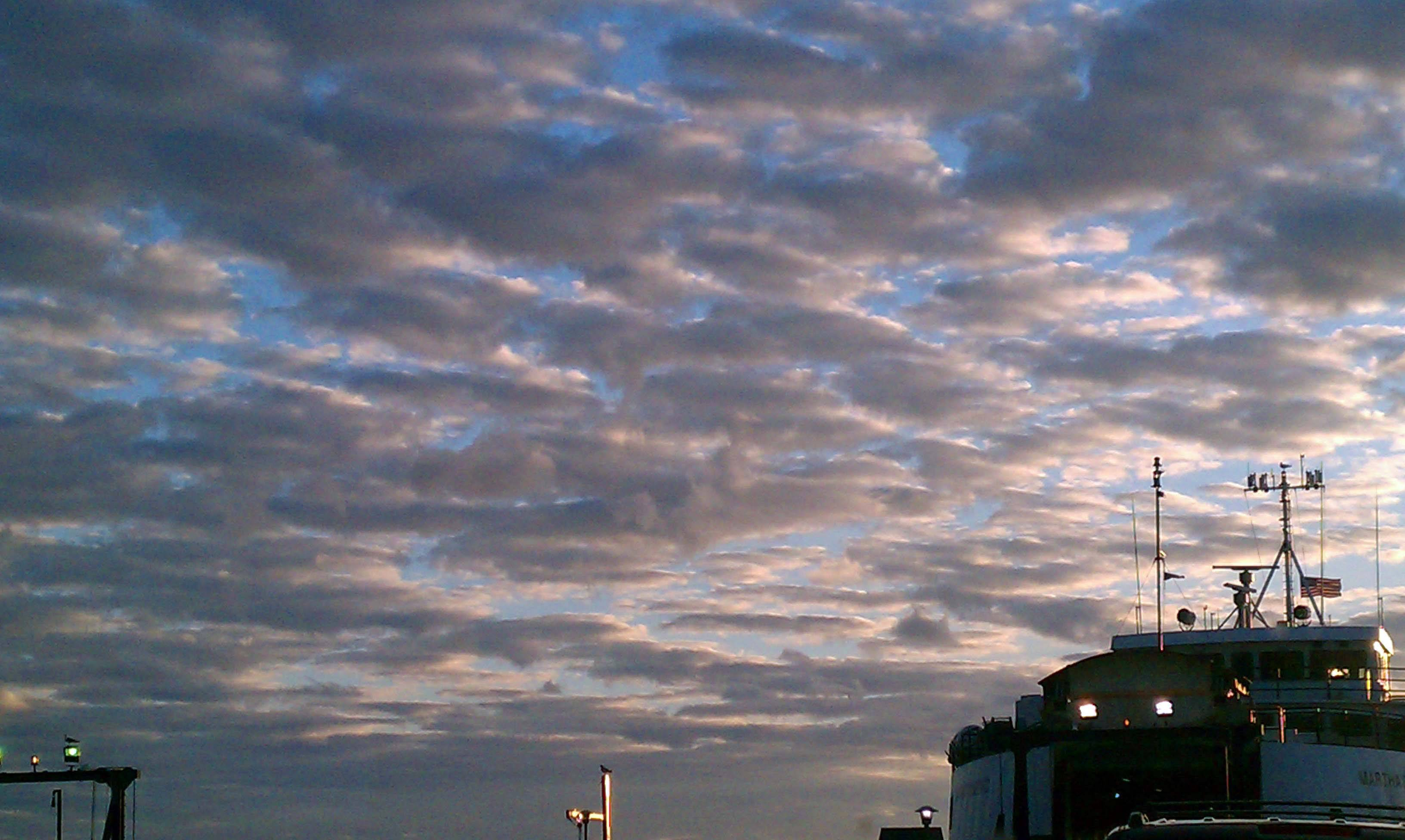 The evening sky at Woods Hole SSA terminal