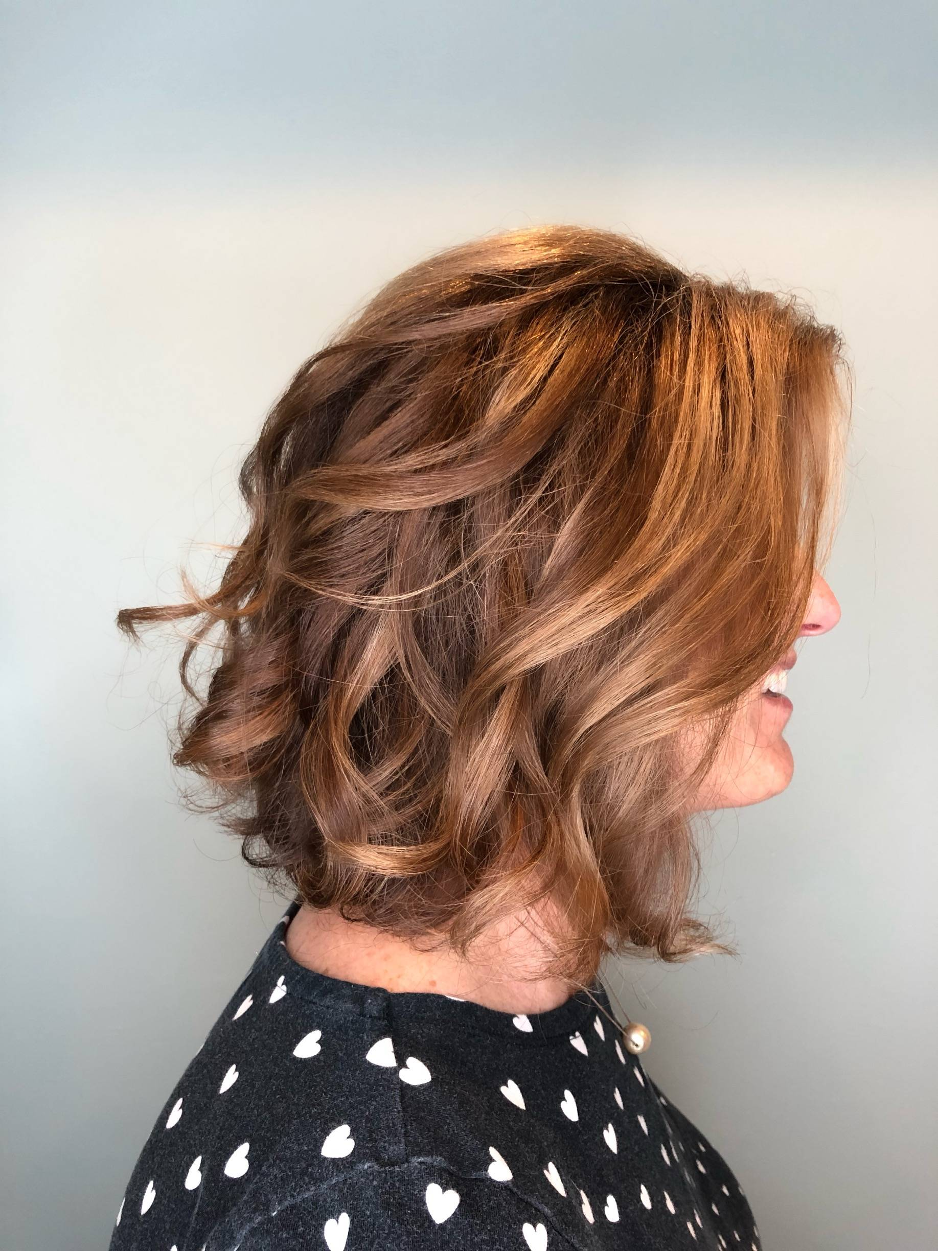 Caramel high and low lights with layered cut