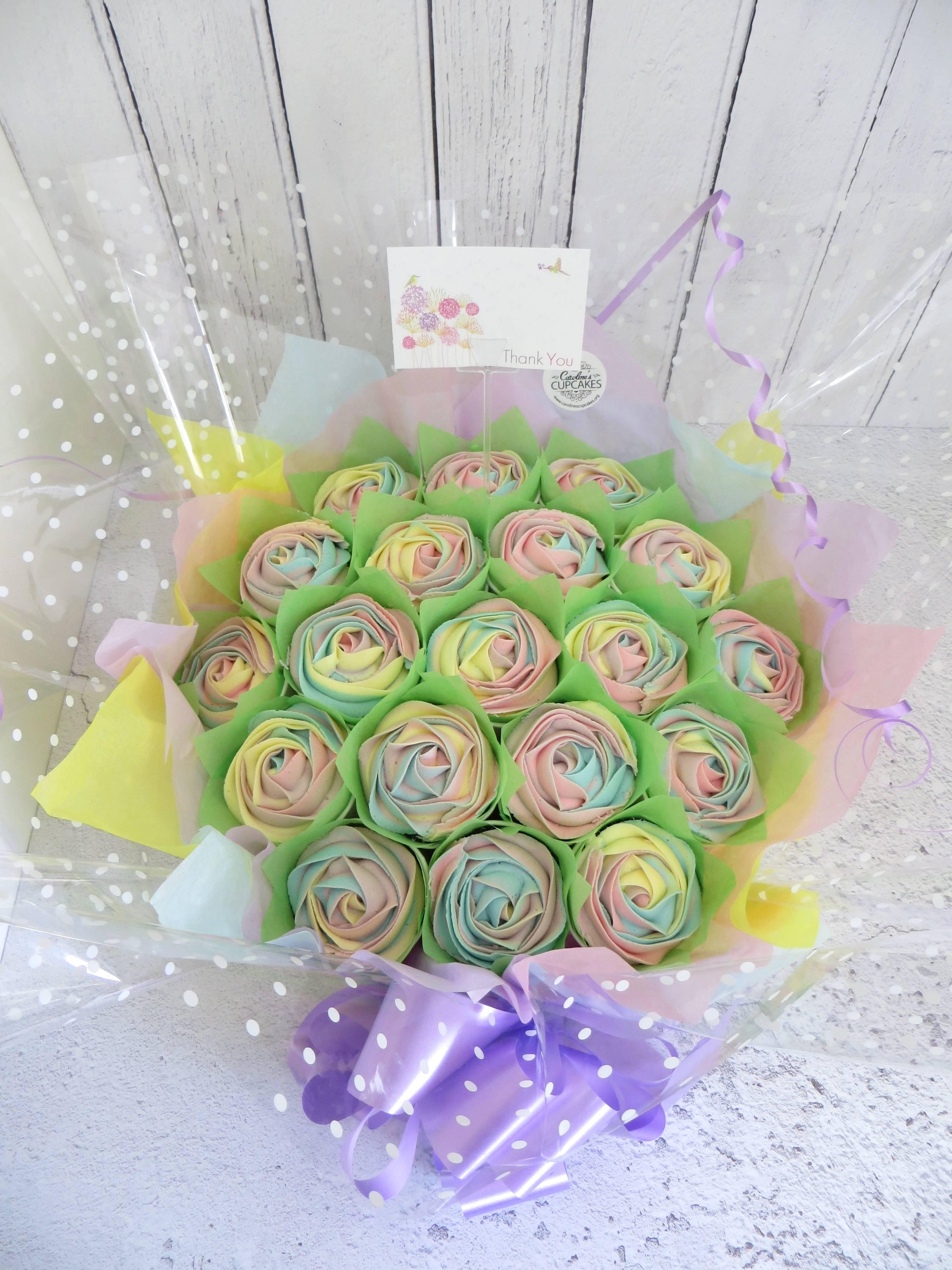 Pastel rainbow 19 cupcake bouquet