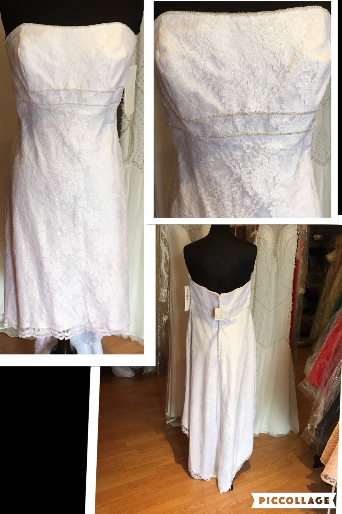 NWT DAVID'S BRIDAL LACE HIGH-LOW WEDDING GOWN SIZE 16 $200.00