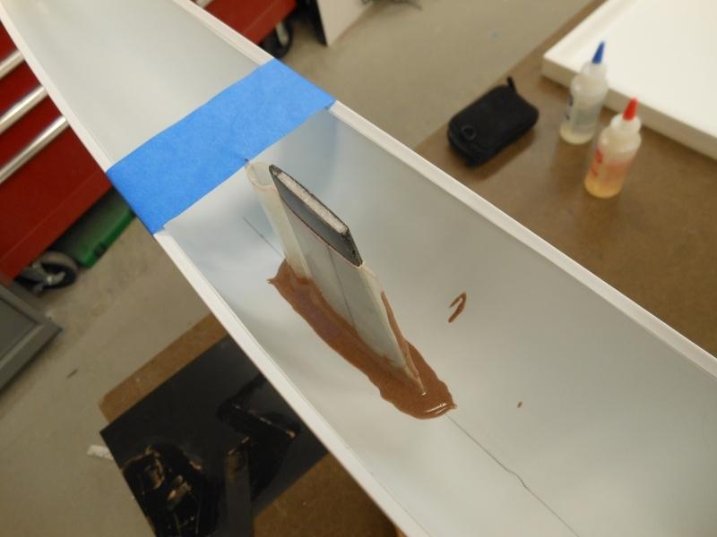 Tape holds hull centered.
