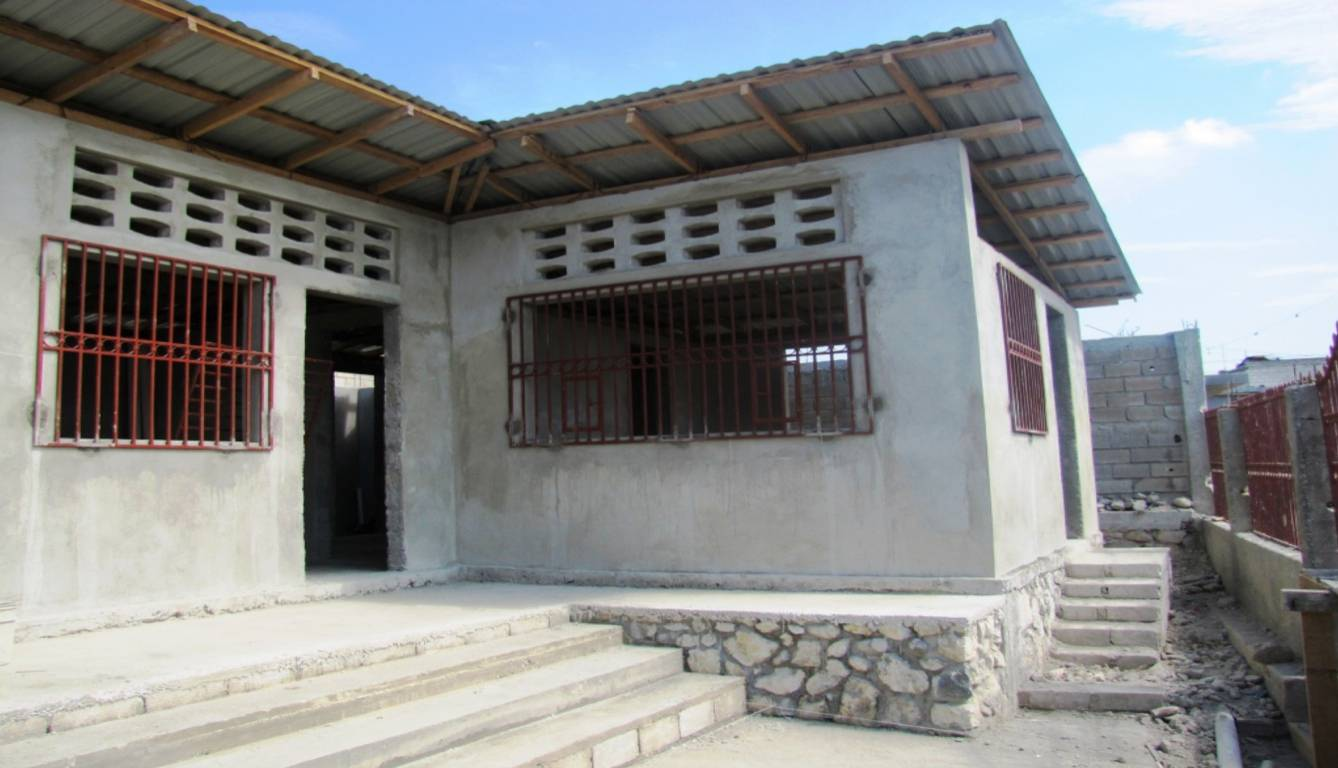 From outside, with roof